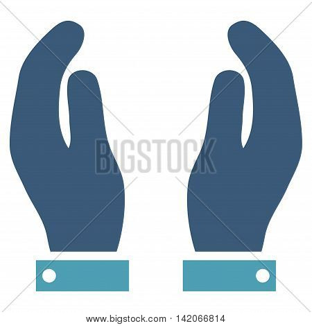 Care Hands vector icon. Care Hands icon symbol. Care Hands icon image. Care Hands icon picture. Care Hands pictogram. Flat cyan and blue care hands icon. Isolated care hands icon graphic.