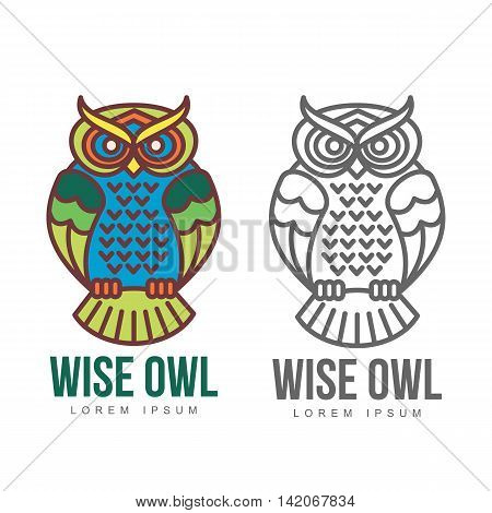 Set of colorful owl logo templates. illustration isolated on white background. Great multicolored owl logo templates for companies, schools and colleges