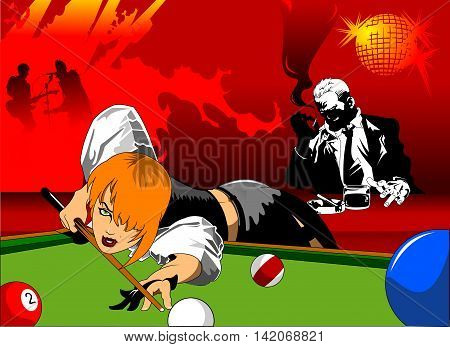 woman in black shorts and black top playing billiards