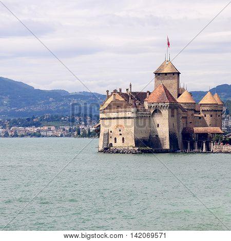 The famous castle museum Shillon by Geneve lake near Montreux. Switzerland.