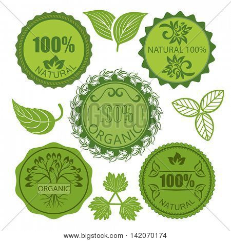 Green eco round labels vector set isolated on white background. Natural organic food tags.