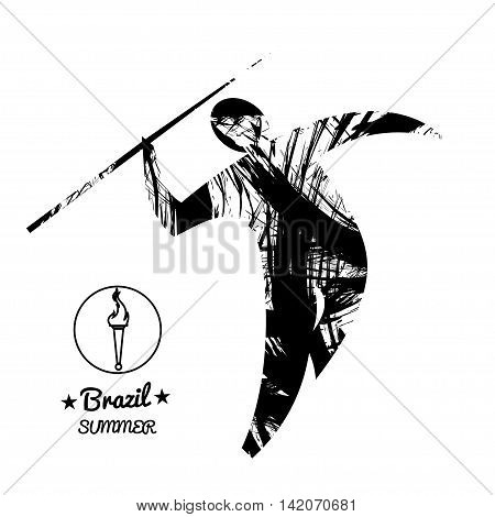Brazil summer sport card with an abstract spear thrower in black outlines. Digital vector image