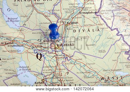 the hague Netherlands-august 10 2016: Map of Baghdad with pushpin illustrative editorial