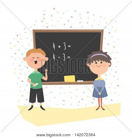Boy and girl at the blackboard in class. Children have a school Board decide examples.