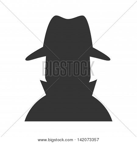cowboy hat silhouette profile detective anonimous human vector graphic isolated and flat illustration