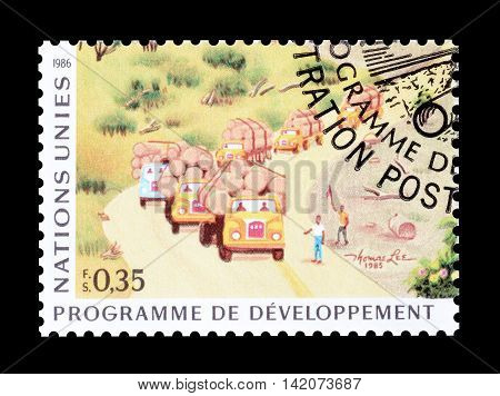 UNITED NATIONS - CIRCA 1986  : Cancelled postage stamp printed by United Nations, that shows forestry.