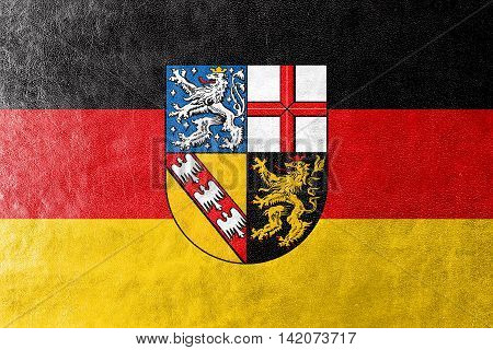 Flag Of Saarland, Germany, Painted On Leather Texture