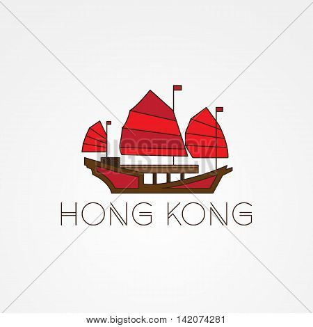 Tourist junk the symbol of gonkong harbour. Modern linear minimalist icon. One line sightseeing concept