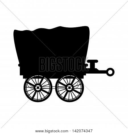 wagon carriage western cowboy desert ride traditional rustic vector graphic isolated and flat illustration