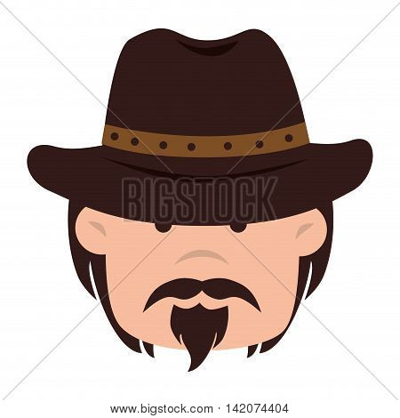 cowboy hat face mustache beard eyes western gunman desert vector graphic isolated and flat illustration