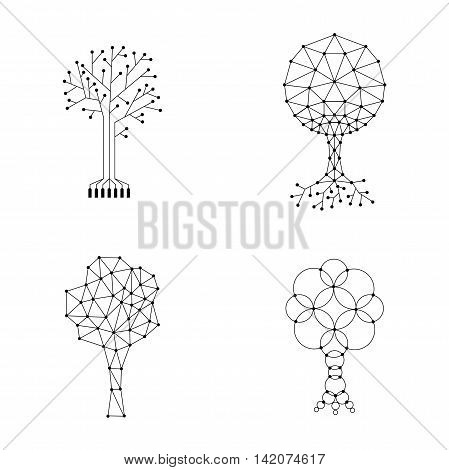Vector set trees made of connected dots