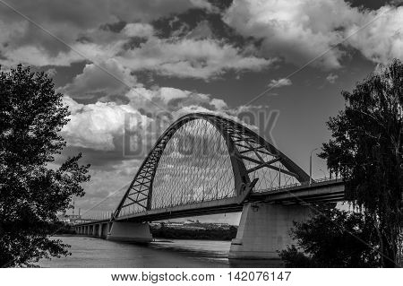 black and white picture of bridge in Novosibirsk, Russia
