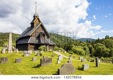 The old Eidsborg stave church in Telemark, Norway