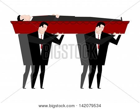 Funeral. Men Carry Coffin With Dead. Red Wooden Coffin With Corpse. Grief Illustration