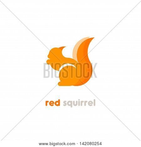 Rodent silhouette logo. Carroty squirrel geometric logo.