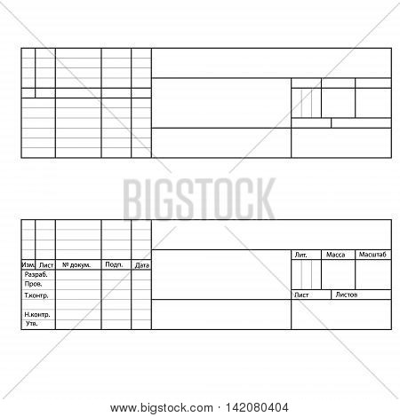 Vector title blocks for drawings empty and text in Russian