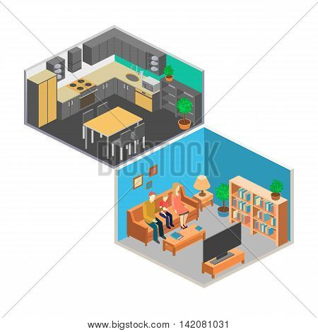 Isometric Interior Of Rooms In The House