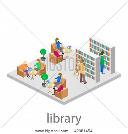 isometric interior of library. Set of object