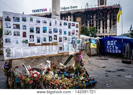 Memorial of victims during conflicts Kiev Maidan Nezalezhnosti, 2014. Memorial, Kiev Maidan Nezalezhnosti, Ukraine. Maidan Nezalezhnosti, Kiev, Ukraine - May 15, 2014: Memorial of conflict victims.