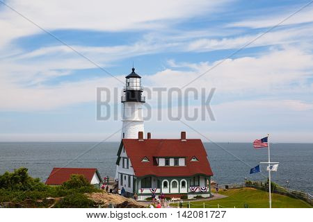 Cape Elizabeth Maine USA: July 6 2016: Locked down view of Portland Head Light (lighthouse) in Cape Elizabeth (Portland suburb) Maine.