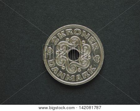 2 Danish Krone (dkk) Coin, Currency Of Denmark (dk)