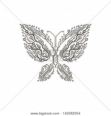 Vector circuit board isolated simple abstract butterfly