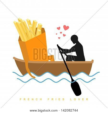 Lover French Fries. Man And Fastfood And Ride In Boat. Lovers Of Sailing. Man Rolls Meal On Gondola.