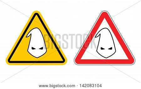 Warning Sign Of Racism. Hazard Yellow Sign Race Discrimination. White Cap In Red Triangle. Set Of Ro