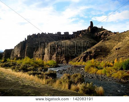 Holy City Rock Formation and the Shoshone River in Cody (Wyoming, USA)