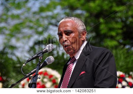 New York City - May 26 2014: United States Congressman Charles Rangel speaking at the annual Memorial Day Remembrance ceremonies in Riverside Park