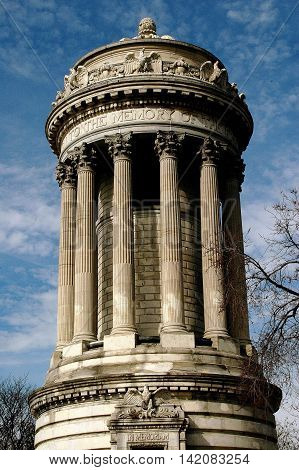 New York City - March 30 2005: The neo-classical Soldier's Sailor's Monument in Riverside Park at West 88th Street