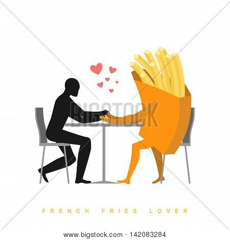 Lover French Fries In Cafe. Man And Fast Food Sitting At Table. Food In Restaurant. Romantic Date In
