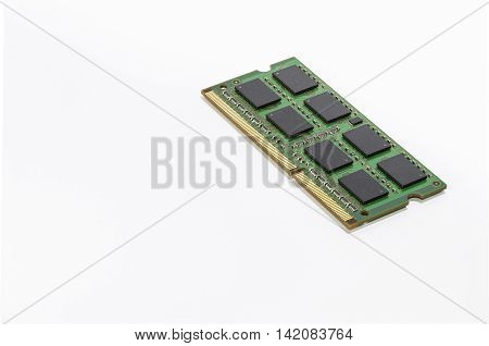 Chip of memory RAM on a white background