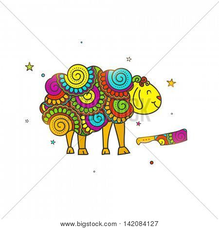 Muslim Community, Festival of Sacrifice, Eid-Al-Adha Celebration with illustration of Sheep and Cleaver Knife, made by colorful floral doodle pattern.