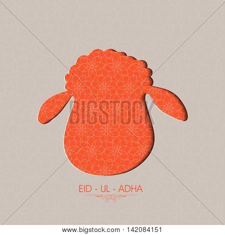 Muslim Community, Festival of Sacrifice, Eid-Al-Adha Celebration with illustration of a Sheep Face. Vector illustration.