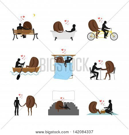 Coffee Lovers Set. Love Of Coffee Bean Collection. Man And Food In Cinema. Lovers In Bath. Romantic