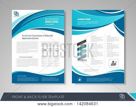 Blue wavy brochure template. Flyer design leaflet cover for business presentations magazine covers posters booklets banners.