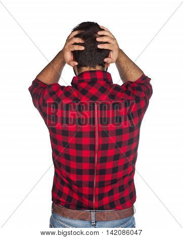 Desperate Worker With Plaid Shirt