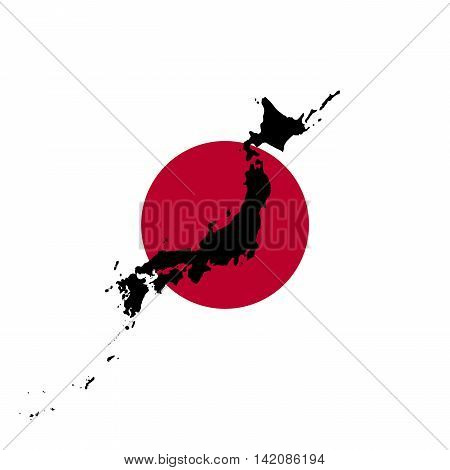 Japanese Flag With Black Map Silhouette of Japan illustration