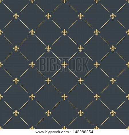 fleur-de-lis royal luxury seamless pattern background. floral ornament with diagonal golden heraldic symbol fleur-de-lis. vector illustration