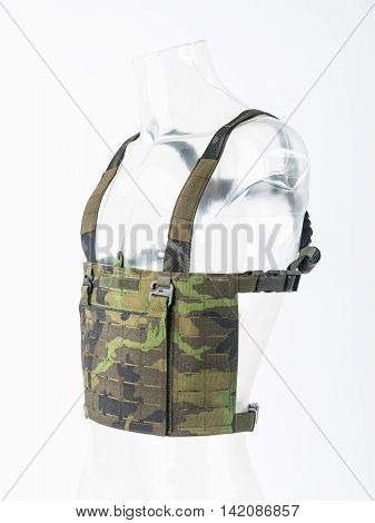 Lightweight bulletproof vest modern body armor with guards Camouflage concept army.