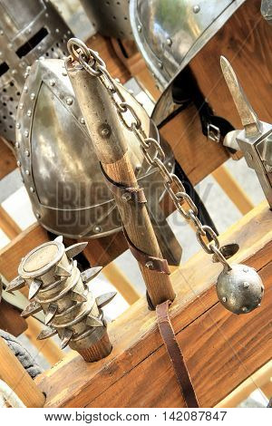 Armor knight Medieval helmets and swords during medival festival