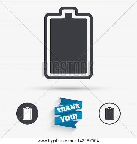 Battery fully charged sign icon. Electricity symbol. Flat icons. Buttons with icons. Thank you ribbon. Vector