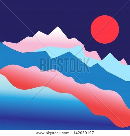 Graphic vector mountain landscape with sun in the summer