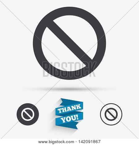 Blacklist sign icon. User not allowed symbol. Flat icons. Buttons with icons. Thank you ribbon. Vector