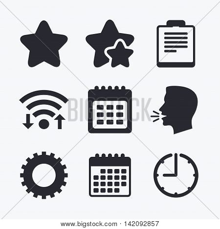 Calendar and Star favorite icons. Checklist and cogwheel gear sign symbols. Wifi internet, favorite stars, calendar and clock. Talking head. Vector