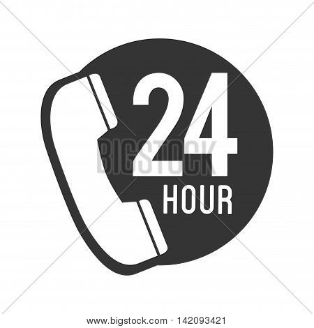 telephone phone 24 hour communication line call vector graphic isolated and flat illustration