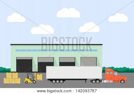 Truck and forklift loader near factory. Cargo loading. Industry product loading into truck. Logistics concept. Vector illustration.