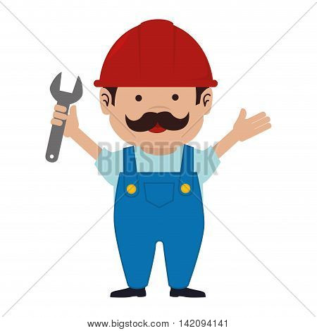 man mechanic helmet service wrench mustache happy overall repair vector graphic isolated and flat illustration