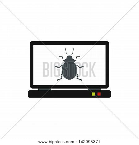 Bug in computer icon in flat style isolated on white background. Failure symbol